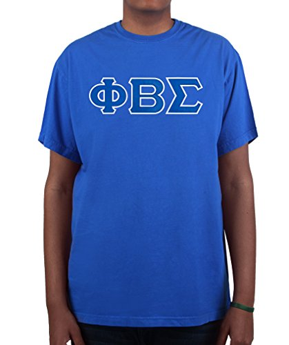 Phi Beta Sigma Twill Letter Tee Premium Collection by California Black Plate Royal 1 Extra Large (Plate Tackle)