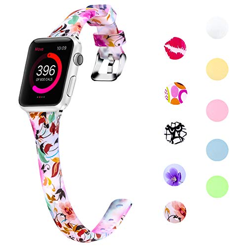 - Lwsengme Slim Rubber Band Compatible with Apple Watch 38mm 40mm 42mm 44mm, Women Silicone Thin Strap for iWatch Series4/3/2/1,Sport/Edition