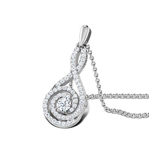 18K Or Blanc 0,51carat au total Round-cut-diamond (IJ | SI) Pendentif