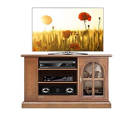 Arteferretto Porta tv classico in legno tinta ciliegio patinato ...