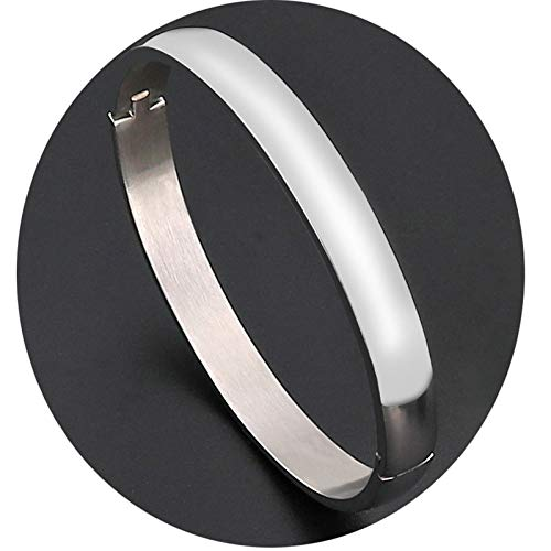 Gnzoe Jewelry-Stainless Steel Bracelet for Women Comfort Fit Polished Finished Bangle Bracelets, Silver(6mmx18cm)