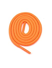 "Round Shoelaces 3/16"" Thick Solid Colors for All Shoe Types Several Lengths (Neon Orange-27)"