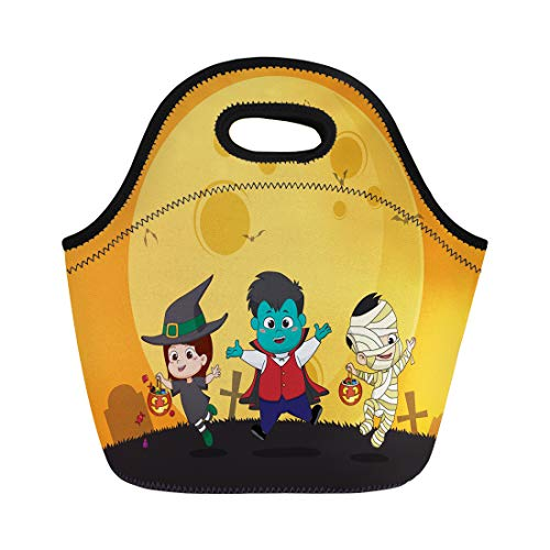 Semtomn Lunch Tote Bag Happy Halloween Kid Dress Up Party and Jumping Reusable Neoprene Insulated Thermal Outdoor Picnic Lunchbox for Men Women -