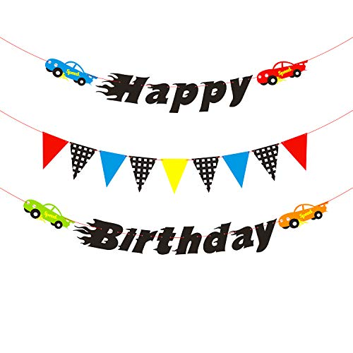 BeYumi Race Cars Birthday Banner for Boys, Colorful Pennants and Checked Flags for Party Decoration, Let's Go Racing Birthday Backdrop for Kids Birthday -