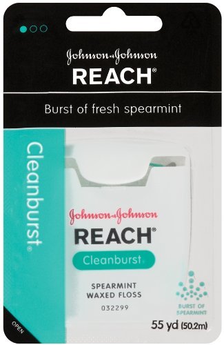 Reach Clean Burst Dental Floss, Waxed, Cleanburst, 55 Yard (Pack of 4)