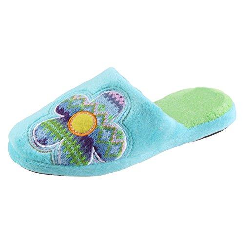 Sams Animaux Chaussons Iliade Flower Chaussons Turquoise drôle humoristique chaud, pantoilia