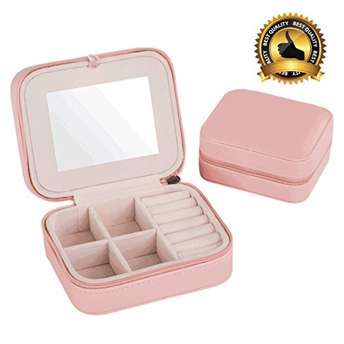 Best Quality Jewelry Box, Fashion Women's Mini Jewelry Box Travel Makeup Organizer Faux Leather Casket With Zipper Cheap Classic Style Jewellery (Classic Style Dresser)