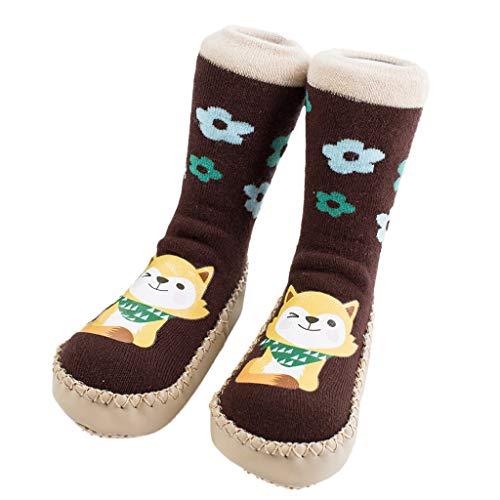 NUWFOR Newborn Baby Boy Girl Cartoon Xmas Floor Socks Anti-Slip Warm Baby Step Socks(Coffee,18M-24Months) by NUWFOR (Image #3)