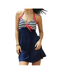 Cimenn Traje de baño de una Pieza de Moda, Traje de baño Sexy con Estampado de Rayas y Halter a Rayas para Mujer(XL-Rojo/Blanco/Azul)