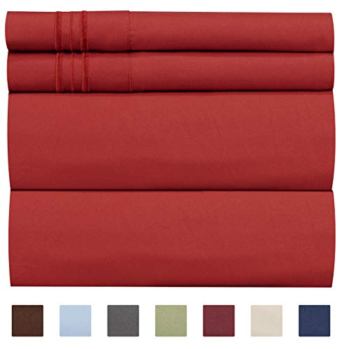 (CGK Unlimited California King Size Sheet Set - 4 Piece - Hotel Luxury Bed - Extra Soft - Deep Pockets - Breathable & Cooling - Wrinkle Free - Comfy -)