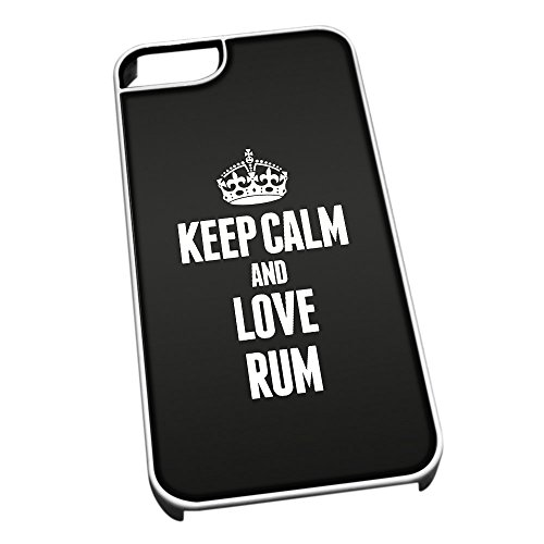 Bianco per iPhone 5/5S 1472 Nero Keep Calm And Love Ron