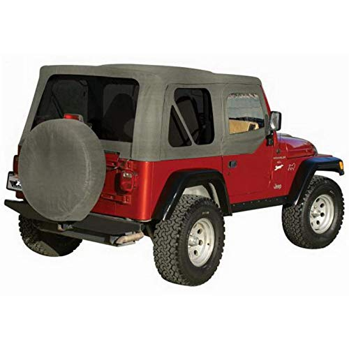 Hardware Soft Top (RAMPAGE PRODUCTS 68211 Complete Soft Top with Frame & Hardware for 1987-1995 Jeep Wrangler YJ, with Soft Upper Doors, Grey Denim w/Tinted Windows)