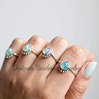SOLID 925 STERLING SILVER RING AUSTRALIAN OPAL RING PEAR STACKING RING DELICATE RING GENUINE OPAL GEMSTONE OCTOBER BIRTHSTONE RING BEACH WEDDING RING PROMISE RING