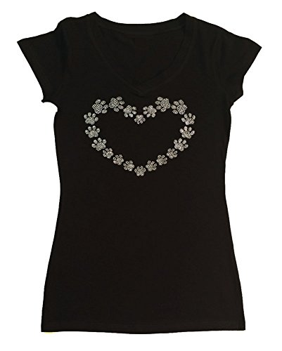 Womens Fashion T-shirt with Heart Made with Paws in Rhinestones (2X, Black Cap Sleeve) -