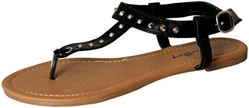 Womens Roman Gladiator Spike Studded T Strap Sandals Flats Shoes (7, Black 2202)