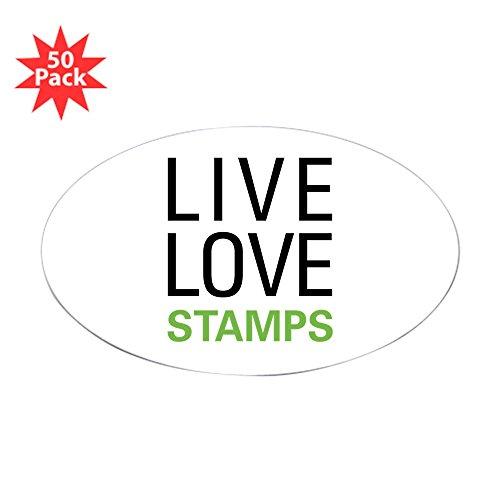 CafePress - Live Love Stamps Oval Sticker (50 Pk) - Sticker (Oval 50 pk)