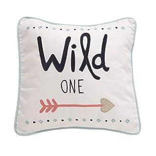 Lambs & Ivy Little Spirit Decorative Pillow - Blue, White, Coral, Hearts, Modern
