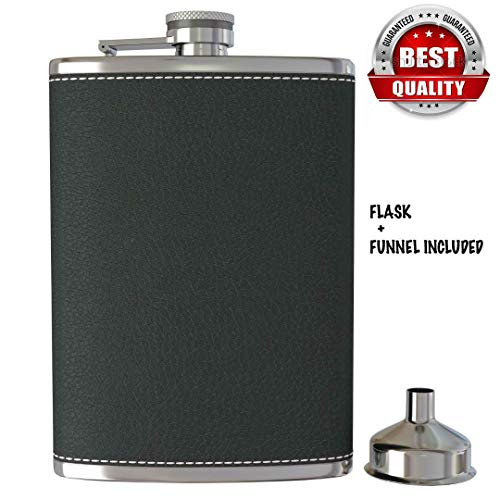 H.J.G SUPPLIES Materials Black Leather Flask and Funnel - 8 Oz Leak Proof 304 Stainless Steel Pocket Hip Flask