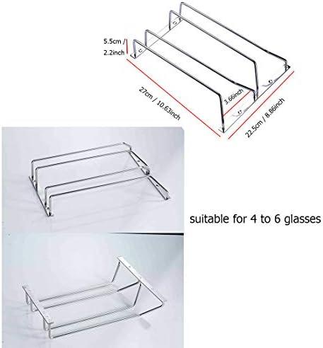 AiJia 304 Stainless Steel Wine Glass Holder Under Cabinet Wine Glass Rack Wine Glass Hanger Stemware Rack 2 Rails