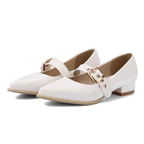 with Shoes with Pumps Toe Fashion Large White Low Available Chunky Casual Pointed Size Heel Onewus and EqHff