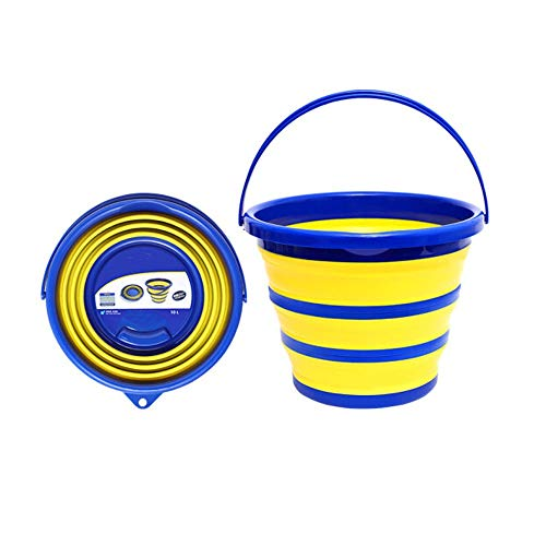 Folding Bucket, 10L Large Capacity Folding Bucket, Outdoor Fishing Camping Fruit Platter, Multi-function Bucket (size, 323224.5cm) (Color : Blue+Yellow, Size : 323224.5cm)
