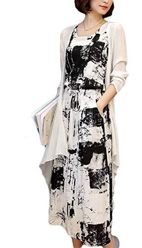 Thx Style Women's Long Casual Sleeveless Maxi Summer Dress with Pockets Cardigan