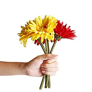 6PCS Artificial Flowers, 8.7'' Gerbera Daisies Silk Flowers Realistic Real Touch Fake Daisy Mum Flowers Chrysanthenum,Sunflowers Bouquet With Flocking Stems Gerber Daisy Fall Flowers for Home Decor 5