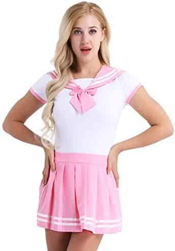6462eed25a MSemis Women Romper Pajamas Skirt Set School Girls Outfit Anime Cosplay  Costume