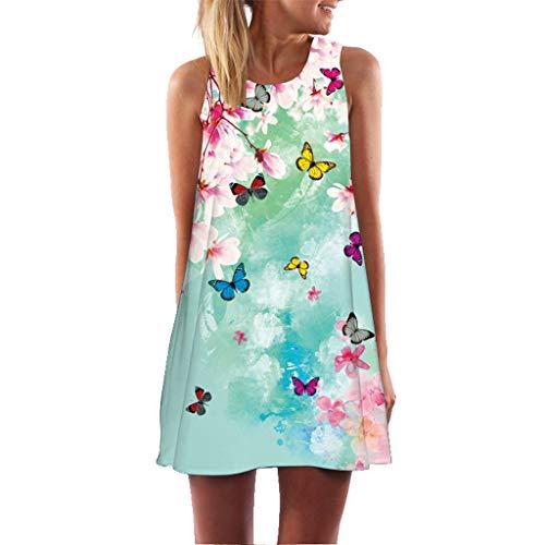 (Sunhusing Women's Refreshing Summer Vintage Bohemian Holiday Print Sleeveless Mini A-Line Dress)