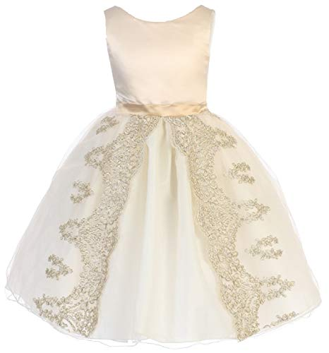 Halloween Night 1914 (BluNight Collection Big Girls Sleeveless Gold Embroidery Wedding Pageant Flower Girl Dress Taupe 8)
