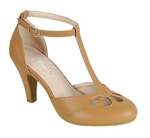 (Women's Mary Jane Retro Round Toe T Strap Teardrop Cut Out Low Kitten Heel Dress Oxford Pumps Tan 7)