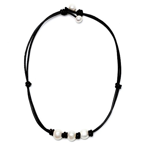 MAIMANI Genuine Leather Simulated Pearl 3 Beads with Knot Choker Necklace (16'' Black) -