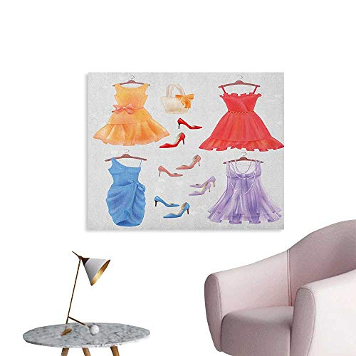 Anzhutwelve Heels and Dresses Wall Paper Set of Festive Attire for Party Fashion Female Cocktail Dresses on Hanger Custom Poster Multicolor W36 xL24