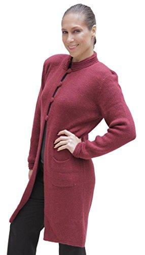 (Women's Soft Alpaca Wool Four-Button Knitted Cardigan Long Coat Sweater (XL, Burgundy))