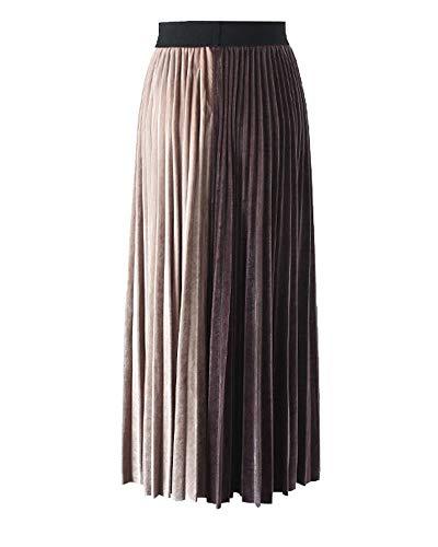 Femme Abricot Haute Plisse Taille Yonglan Jupe lastique Temprament Taille Jupe Lache Brun Midi EPfwCOq