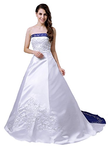 RohmBridal Strapless Satin Embroidery Wedding Dress Bridal Gown H36 White Blue 12 by RohmBridal