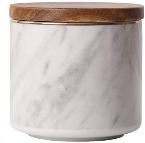 Marble Pattern Jar Ceramic with Bamboo Airtight Lids Candy Cookie Jar Storage Jar Jewelry Box Buffet Jar Coffee Oatmeal Tea Sugar Container (10x10cm(3.94''x3.94''))