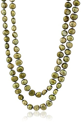 6-7mm Dyed Light Olive Baroque Freshwater Cultured Pearl Endless Necklace, (7 Mm Single Strand)
