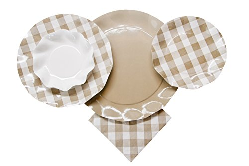 Sophistiplate Disposable Paper Plate Set Vichy Taupe (Gingham beige) for 10 Guests, 60 Pieces, for Holiday Parties, Picnics, Birthdays, Anniversaries, BBQ, and All Special Occasions