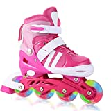 Aceshin Adjustable Inline Skates with Light up Wheels Beginner Rollerblades Fun Illuminating Roller Skates for Kids (US Stock) (Pink, S)