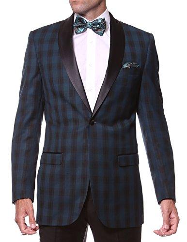 40L Zonettie Astor Teal Slim Fit Plaid Tuxedo Blazer