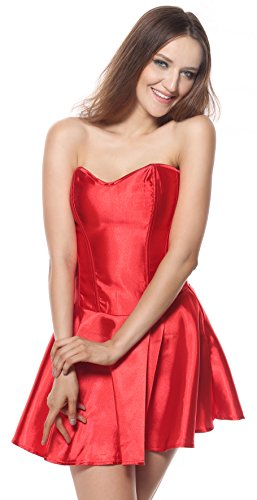 Charmian Women's Short Wedding Bridal Cocktail Party Valentines Dress Satin Boned Corset Top Red (Fancy Dress 80s Style)
