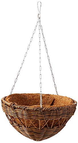 DMC Products 13-Inch Resin Wicker Hanging Basket with Chain Hanger, Antique Brown from DMC Products