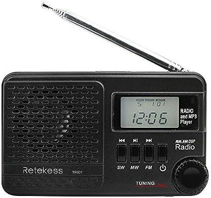Retekess FM//AM//SW Radio Receiver REC Recorder Stereo HiFi Bass Sound MP3 Player