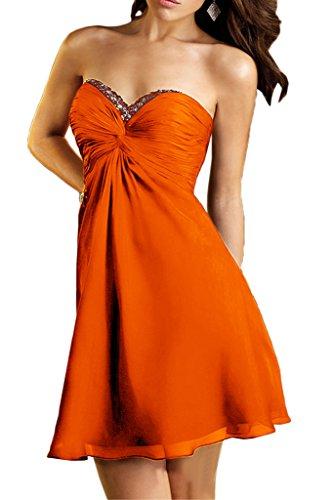 Ballkleider Kleider Tanzenkleider Festlichkleider Orange Braut Kurz Chiffon La Promkleider mia Jugendweihe Orange Abendkleider 6pwq06ZF