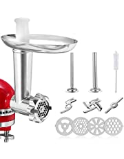 Meat Grinder Attachment for KitchenAid Stand Mixers, Accessories Includes 2 Sausage Stuffer Tubes,2 Grinding Blades,4 Grinding Plates, Sausage Stuffer Attachment Compatible with KitchenAid Stand Mixer