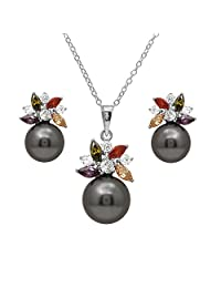Jewelry is Forever Exquisite Sterling Silver Rhodium Plated Multi CZ Flower Set with Synthetic Black Pearl -