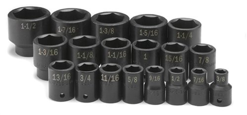 SK Hand Tools 4039 19-Piece 1/2-Inch Drive 6 Point Standard Fractional Impact Socket Set