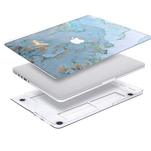 MacBook Air 13 Inch Case 2018 2019 Version Model A1932,Arike Marble Rubber Coated Plastic Hard Case with Keyboard Cover for New MacBook Air 13 inch with Touch ID