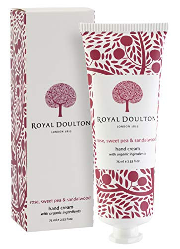Royal Doulton Luxury Hand cream with Shea Butter, Olive Oil, Vitamin E and Jojoba - Rose, Sweet Pea & Sandalwood - Paraben Free 75ml/ 2.53 oz (Sweet Butter Jojoba)